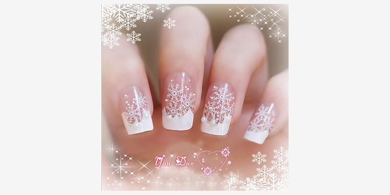 24 Pieces Of Nail Art Products Fake Nails Patch Bride By Hand A ...